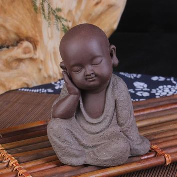 Ceramic little monk Buddha Statues tea pet creative home furnishing articles small adornment home decor ornament landscape