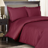 Stripe Burgundy Down Alternative Bed in A Bag Egyptian cotton 600 Thread count