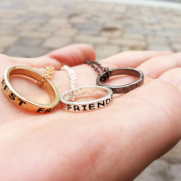Best Friends Necklace, Best Friend Rings, Friendship Ring Necklace, Best Friend Forever Christmas Gift