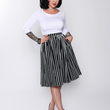 Pinup Couture Jenny Skirt in Victorian Stripe