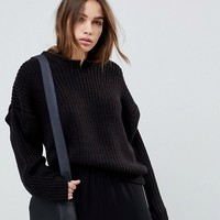 ASOS Oversized Sweater with Pleat Sleeve Detail at asos.com