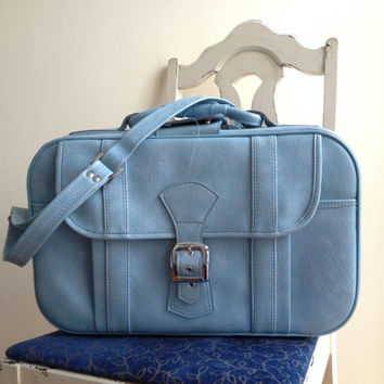 Vintage Powder Blue Small Carry On Suitcase with strap