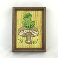 Rustic Woodland Nursery Whimsical Frog on Mushroom Framed Needlepoint Art Happy Frog Picture Smiling Green Frog Yellow & Green Nursery Decor