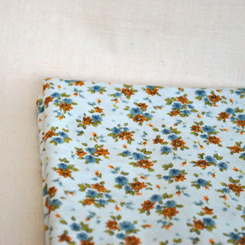 Boho Cotton fabric with small orange and blue flower / 2.6 yards/ rustic chic fabric, boho chic