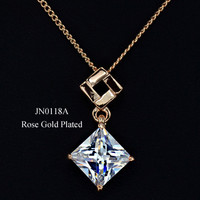 UMODE Rose Gold & White Gold Color 8mm Square Zircon Pendant Jewelry Necklace New Fashion Cubic Shape Necklace & Pendant JN0118