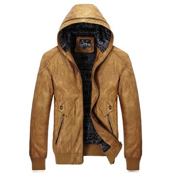 New Men's Winter Moto PU Leather Jacket Casual Hooded Jackets Coat Men Thick Warm outerwear Overcoats
