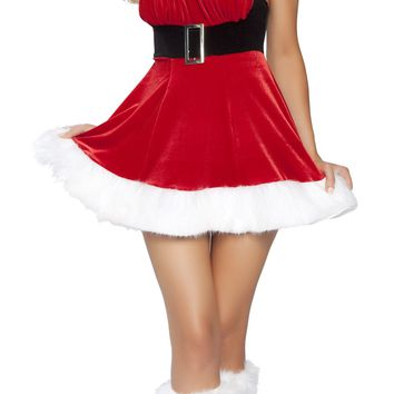 Roma Costume USA Santa's Envy Fur Trimmed Mini Dress with Buckle
