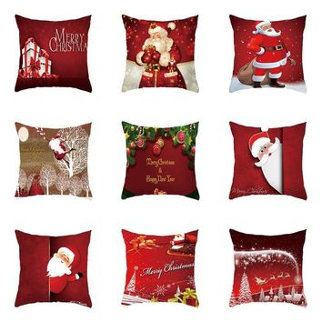 Xmas Style Cotton Linen Pillowcase Cover Merry Christmas Santa Claus Home Rome Decorative Pillows Nordic Happy New Year Gift