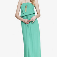 STRAPLESS DRAPED MAXI DRESS - GREEN from EXPRESS