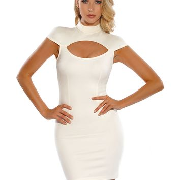 Stacey High Neck Low Sleeve Cut Out Stretch Crepe White Dress