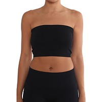 Women's Strapless/Seamless Tube Top Bandeau - Black