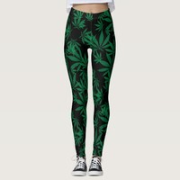 Ganja weed smoke pot black and green pattern leggings