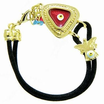 Handcrafted Amulet Evil Eye Protection Angel Red Enamel Bracelet