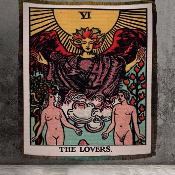 Large Woven Tapestry - The Lovers Tarot Card Tapestry - Rider Waite Deck - Cotton