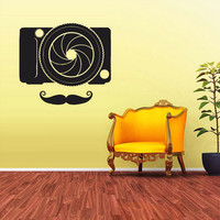 rvz1699 Wall Decal Vinyl Sticker Decals Hipster Photo Camera Mustache Fashion