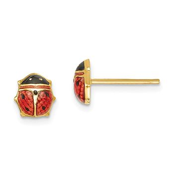 7mm Red Ladybug Post Earrings in 14k Yellow Gold and Enamel