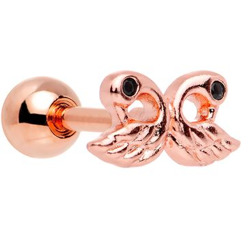 Rose Gold Plated Ruffled Feather Dual Swans Tragus Cartilage Earring