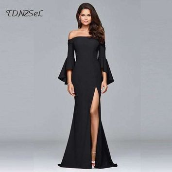 2018 Sexy Off Shoulder Mermaid Long Evening Party Dress Elegant Prom Gown Women Black Red Backless High Split Big Hem Slash Neck