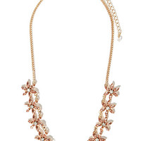 Rhinestoned Floral Statement Necklace