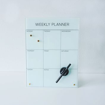 New Glass Magnetic Weekly Planner Dry Erase Board