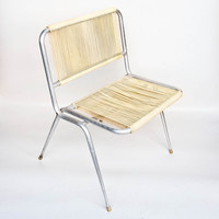 Vintage Outdoor Chair / Folding Easy Chair / 60s Italy /  Chrome / Yellow