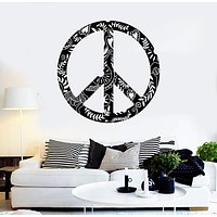 Vinyl Wall Decal Hippie Symbol Ornament Peace Love Stickers Mural Unique Gift (ig4290)