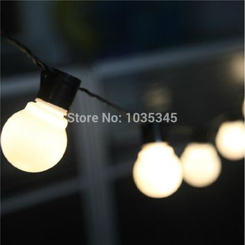 Novelty Outdoor lighting 5cm big size LED Ball string lamps Black wire Christmas Lights fairy wedding garden pendant garland