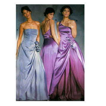 EVENING GOWN PATTERN Fit & Flare Prom Bridesmaid Wedding Dress Strapless One Shoulder Burda 8321 Bust 30 - 39.5 UNCuT Womens Sewing Patterns