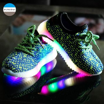 2018 Autumn LED light glowing kids sneakers 2 to 10 year old baby boys and girls casual sport shoes children running shoes