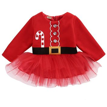Newborn Baby Festival Dress Baby Girl Long Sleeve Christmas Santa Claus Tulle Dress Outfits Costume