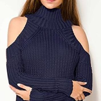 Cold As Ice Navy Blue Long Sleeve Cut Out Shoulder Mock Neck Pullover Sweater