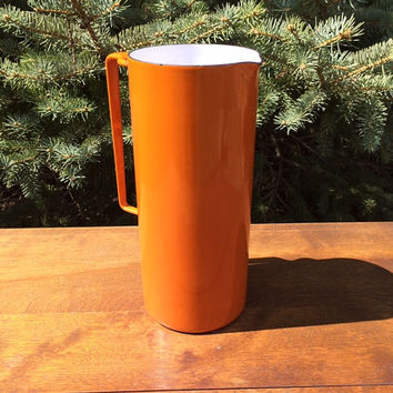Vintage 1960s Dansk Koben Style Enamel Mid Century Orange Pitcher from France
