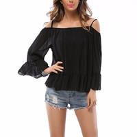 2016 Autumn New Sexy Women Off Shoulder Chiffon Blouse Spaghetti Strap Long Flare Sleeve Ruffles Shirts Female Casual Tops Blusa