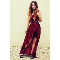 Bqueen Asymmetrical Maxi Dress TD01E - Designer Shoes|Bqueenshoes.com