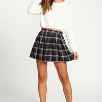Zip Up Plaid School Girl Skirt