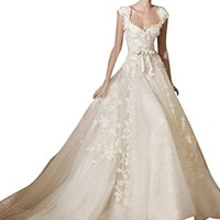 DAPENE Fashion Elegant Sexy V-Neck Lace Strap Princess Bride Wedding Dress