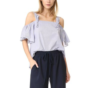Sexy Women  Neck Bow Flared Sleeve Summer Tops