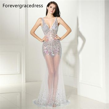 Forevergracedress Sexy Illusion Prom Dress Backless Deep V Neck Beaded Crystals Long Formal Party Gown Plus Size Custom Made