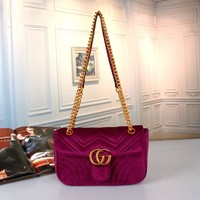 """Gucci"" Women Fashion Velvet Double G Logo Metal Chain Single Shoulder Messenger Bag Small Square Bag"