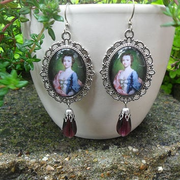 Rococo lady cameo earrings, portrait earrings, Allan Ramsay, ox silver, amethyst purple teardrop beads, romantic picture earrings; UK seller