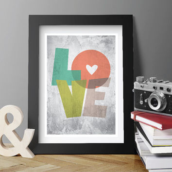 DIGITAL INSTANT DOWNLOAD. Love Printable Poster Wall Art Wall decor Abstract art Geometric Art Retro poster Minimal Modern.