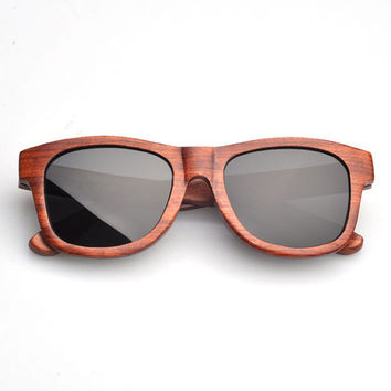 Wood Sunglasses - Eco-Friendly Rosewood Wayfarer Wood Sunglasses | Hand Made from Rosewood wood raybans style wayfarers Polarized Lenses