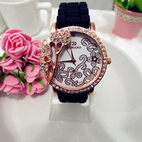 Silicone Belt Round Dial with Rhinestone Flower Watch A94