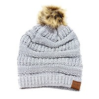 Beatnix Fashions Gray, White Heimish Soft Cable Knit Faux Pom Pom Winter Beanie