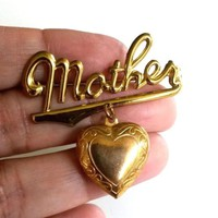 Vtg Mother Heart Locket Dangle Brass Pin Gold Tone Sweetheart Jewery