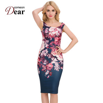 RJ80210 Comeondear Women Dresses Free Shipping Lady Dresses Elegant Floral Pencil Dress Business Casual Party Sheath Vestidos