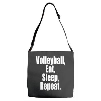 EAT, SLEEP, VOLLEYBALL, REPEAT Adjustable Strap Totes