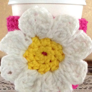 Daisy Pink Crochet Coffee Cozy, Crochet Coffee Cozy, Coffee Cup Sleeve, Mother's Day Gift, Coffee Cozy, Coffee Lovers, Crochet Cozy