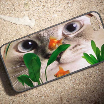 Cat bowl fish water Case for iPhone 4/4s,iPhone 5/5s/5c,ipod 4/5,Samsung Galaxy S3/s4/s5 plastic & Rubber case