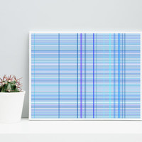 Abstract Art  Plaid_9z,  Limited Edition Giclee, 10 x 8 cotton rag paper, Paul Klee inspired living room wall art blue and teal colors geeky